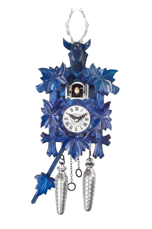 Quarz Cuckoo Clock 11 3 4 Inches Blue Painted With Dear Head